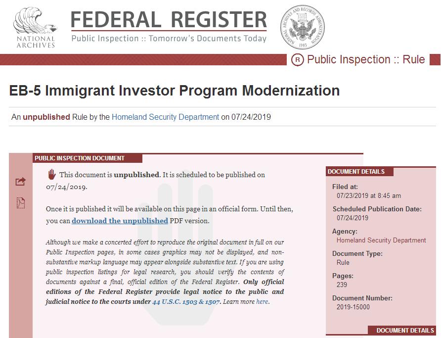 美国EB-5涨价新法规出台,2019年11月21日起生效!